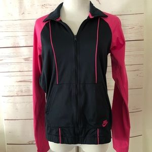 NIKE SPORTSWEAR hot pink black zip TRACK JACKET